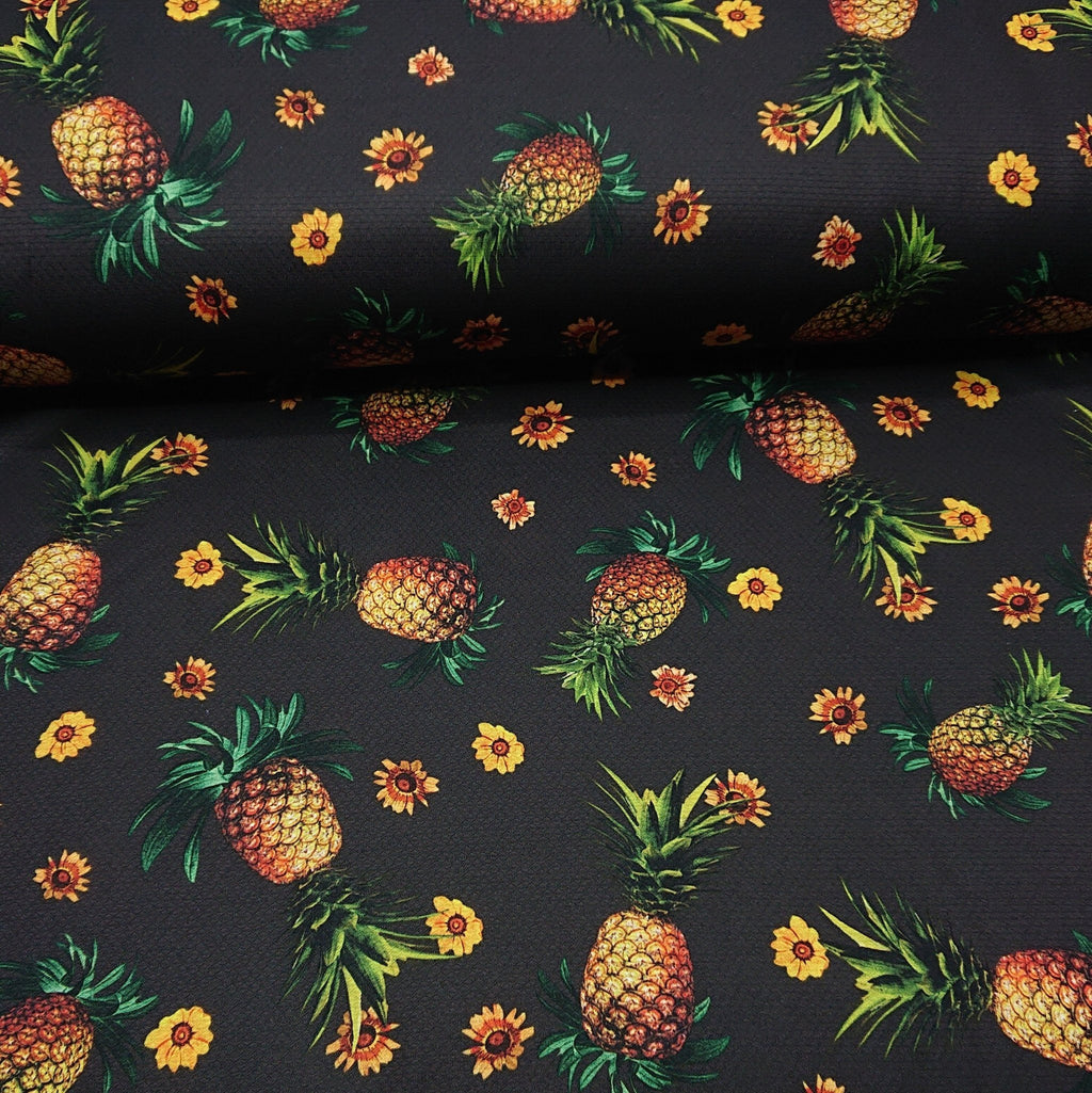 Pineapple Print Tricot Jersey - The Fabric Counter