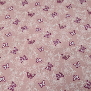 Pink Butterfly Polycotton - The Fabric Counter
