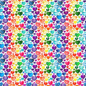 Rainbow Hearts Digital Cotton Print - The Fabric Counter