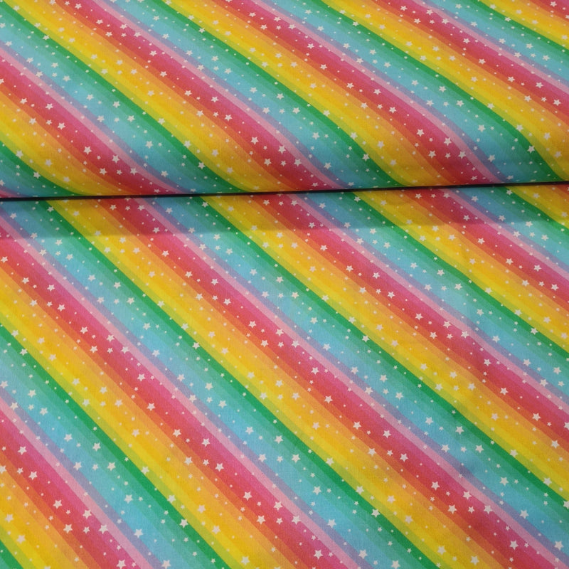 Rainbow Stripe Digital Cotton Print - The Fabric Counter