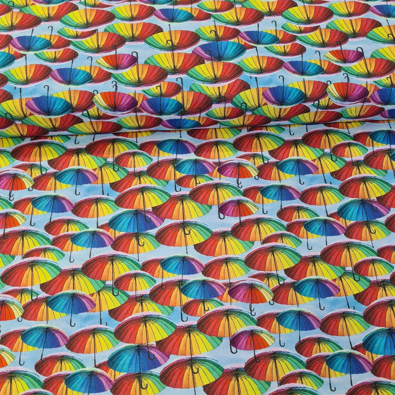 Rainbow Umberella Digital Cotton Print - The Fabric Counter