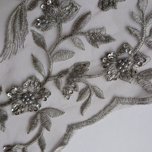 Rebecca Beaded Lace - Grey - The Fabric Counter