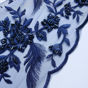Rebecca Beaded Lace - Navy - The Fabric Counter