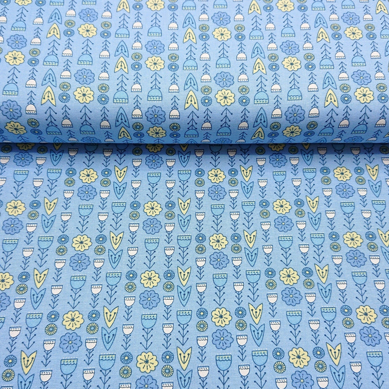Retro Floral Cotton Print - The Fabric Counter