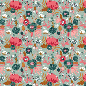 Retro Floral - GOTS Organic Cotton Jersey - The Fabric Counter