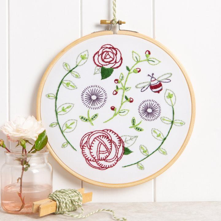Rose Garden Embroidery Kit - The Fabric Counter