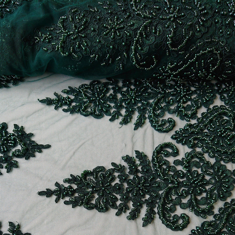 Sarah Heavy Beaded Lace - Emerald - The Fabric Counter
