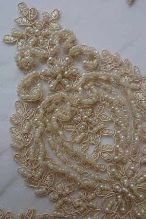Sarah Heavy Beaded Lace - Gold - The Fabric Counter
