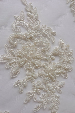 Sarah Heavy Beaded Lace - Ivory - The Fabric Counter