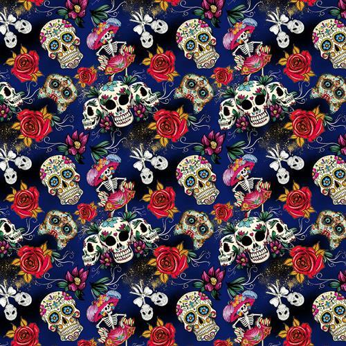 Skull Digital Cotton Print - The Fabric Counter