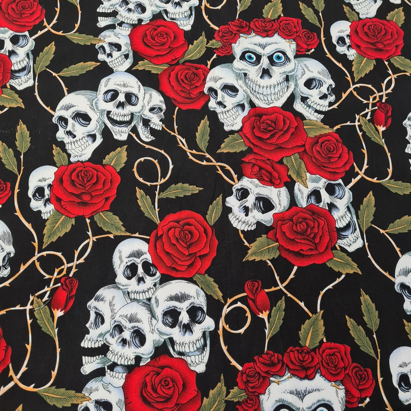 Skull & Roses Cotton Print - The Fabric Counter