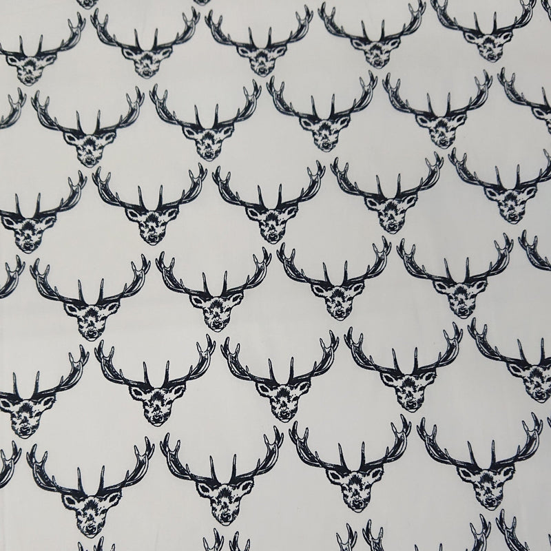 Stag Cotton Print - Ivory - The Fabric Counter