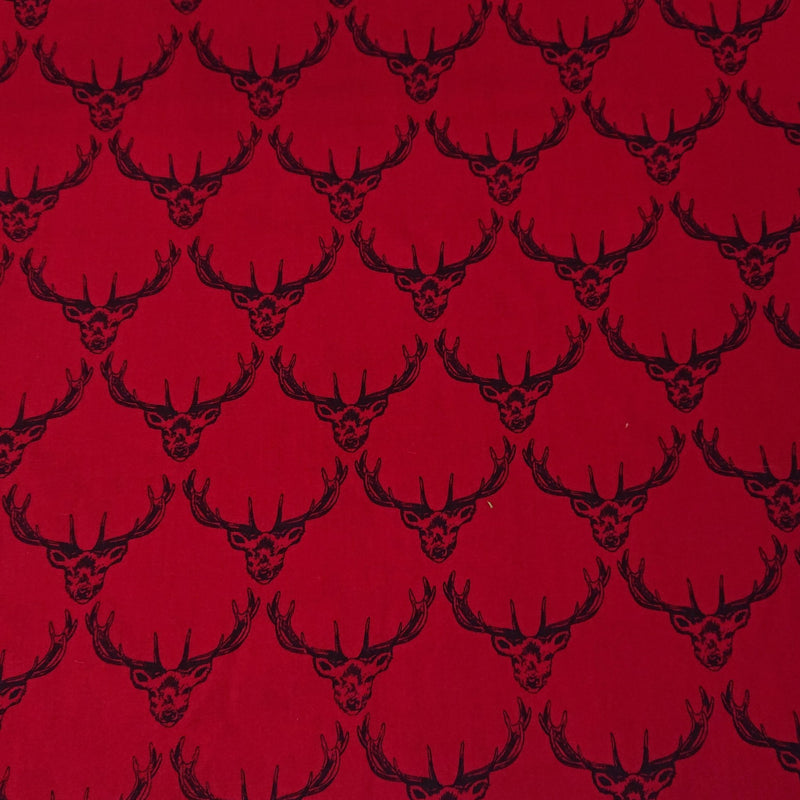 Stag Cotton Print - Red - The Fabric Counter
