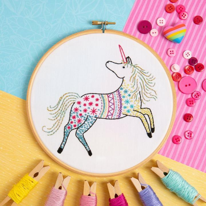 Unicorn Embroidery Kit - The Fabric Counter