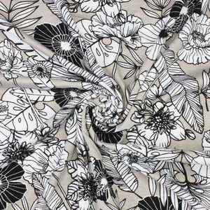 Viscose Jersey - Flower - The Fabric Counter