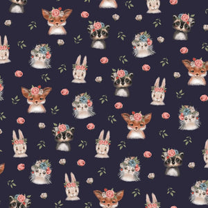Woodland Animals - Digital Cotton Jersey - The Fabric Counter