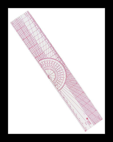 Clear Protractor Beveled Ruler