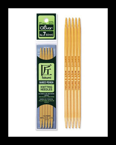 "Takumi Bamboo Knit Needle 5"" Double Pointed"