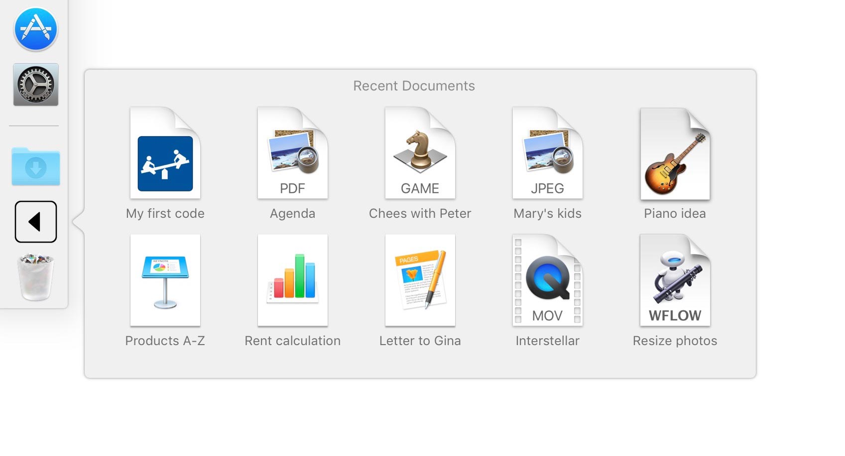 Recent Documents in Dock