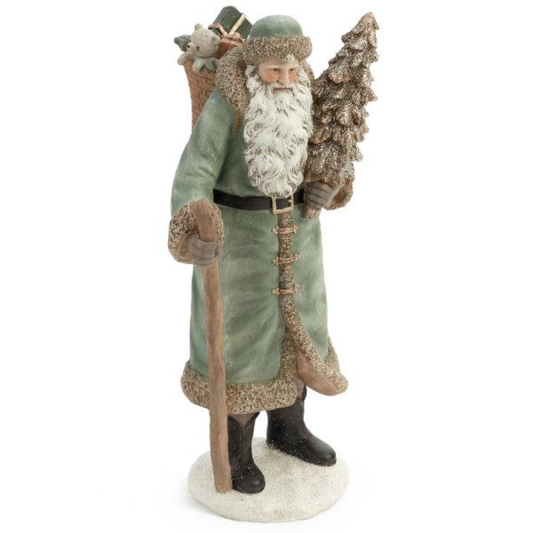 Santa Figurine Holding Tree with Stick (Green) - Jouets LOL Toys