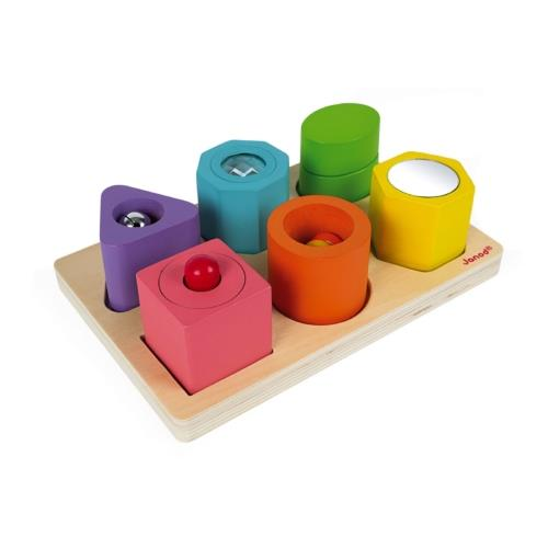 Janod Shapes and Sounds 6 Block Puzzle - Jouets LOL Toys