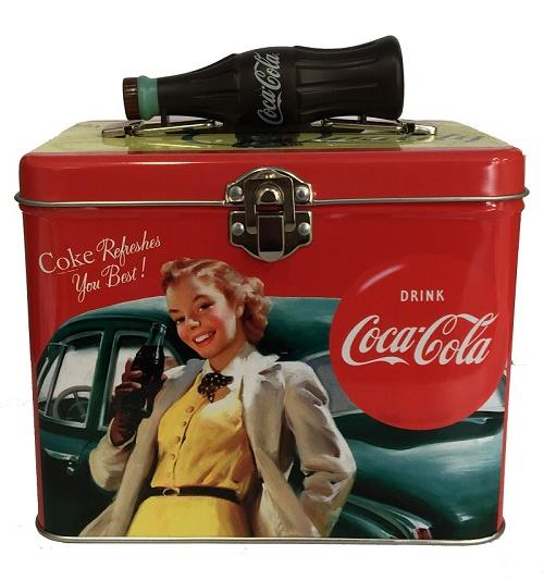 Coca-Cola Tin Square Lunch Box - Coke Refreshes You Best