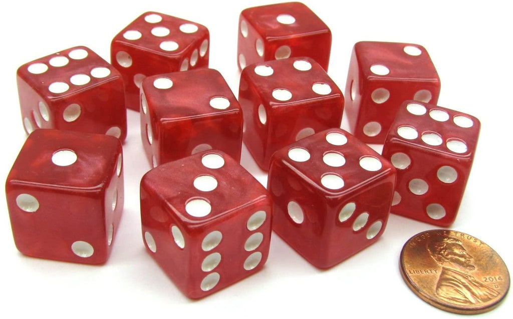 Marbleized Dice 16mm (Red) - Jouets LOL Toys