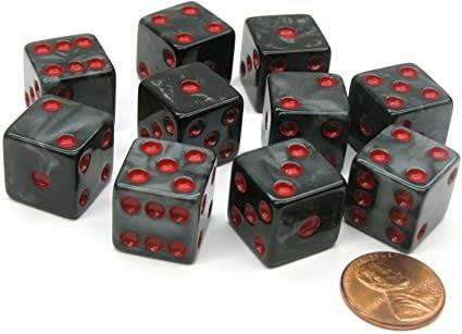 Marbleized Dice 16mm (Black and Red) - Jouets LOL Toys