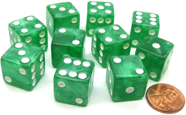 Marbleized Dice 16mm (Green) - Jouets LOL Toys