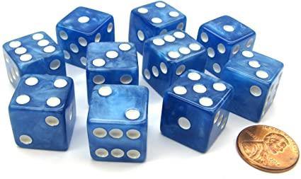 Marbleized Dice 16mm (Blue) - Jouets LOL Toys