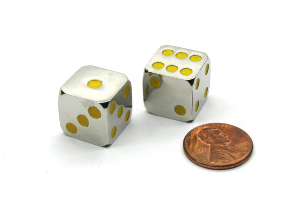 Metallic Dice 15mm (Yellow) - Jouets LOL Toys