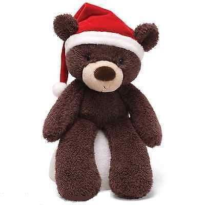Gund Plush Bear With Santa Hat (Dark Brown) - Jouets LOL Toys
