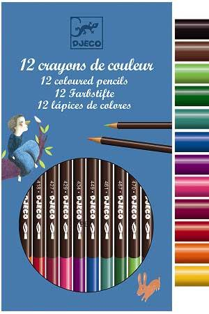 Djeco 12 Coloured Pencils Crayons - Jouets LOL Toys