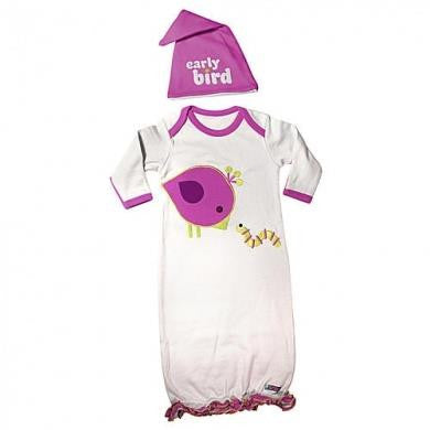 SOZO Early Bird Nite Cap & Gown Set | Ensemble Robe & Bonnet de Nuit Oiseau Matinal