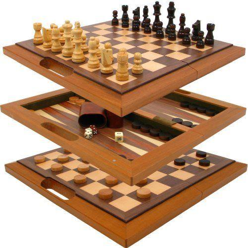 3-in-1 Oak Game Set (Chess-Checkers-Backgammon) - Jouets LOL Toys