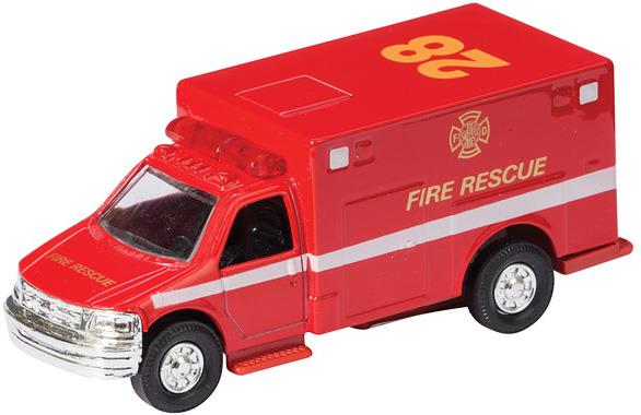 Die Cast Ambulance Fire Rescue Pull Back (Red) - Jouets LOL Toys