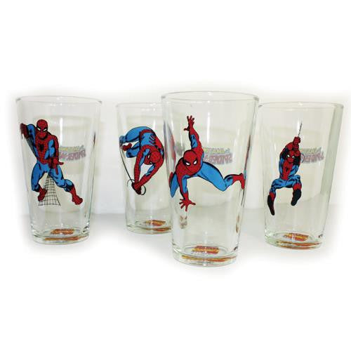 Spiderman Drinking Glasses (set of 4) (16oz) - Jouets LOL Toys