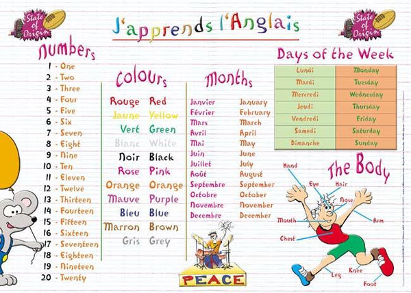 Placemat J'apprends Anglais (French) - Jouets LOL Toys