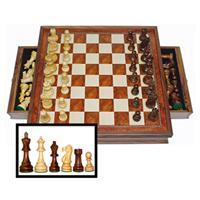 "15"" Walnut Deluxe Chess Set with Drawer - Jouets LOL Toys"