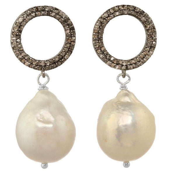 White Baroque Pearl and Pave Diamond Earrings