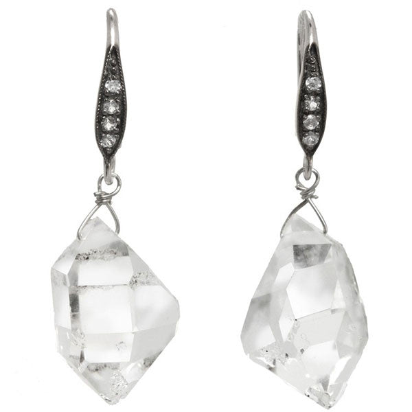 Herkimer Diamond Earrings with white sapphires