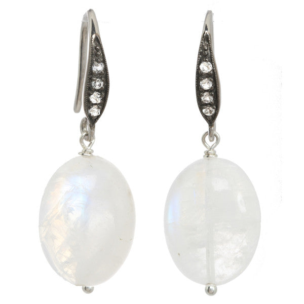 Moonstone Earrings with White Sapphire Accents