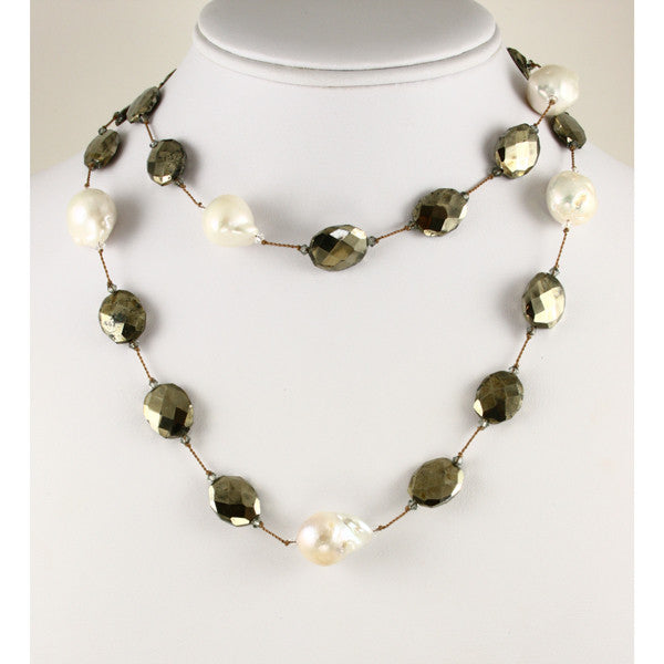 Pearl & Pyrite Necklace