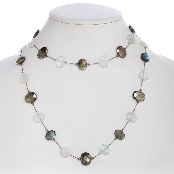 Moonstone, Labradorite, Aquamarine and Pyrite Necklace.