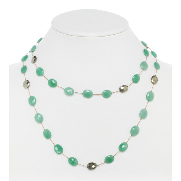 Chrysoprase and Pyrite Necklace