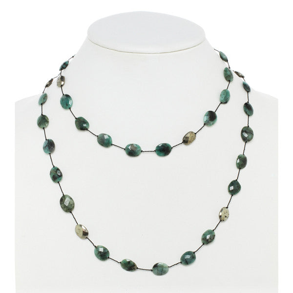 Raw Emerald and Pyrite Necklace