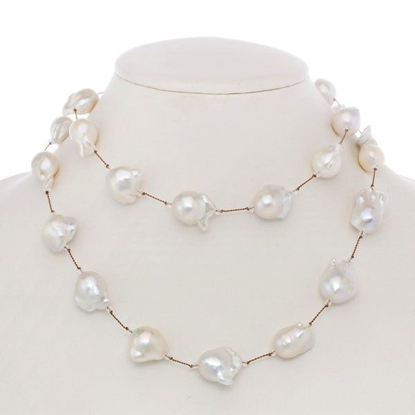 Fifth Avenue White Baroque Pearl Necklace