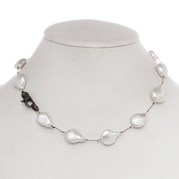 White Coin Pearl Necklace with Diamond Clasp
