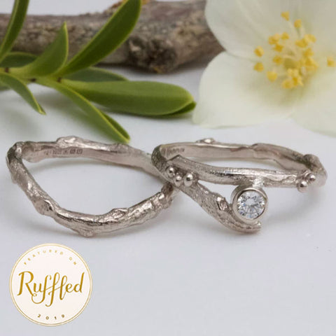 18ct Gold and Diamond Twig Engagement Ring Set-alternative diamond engagement ring-elvish rings