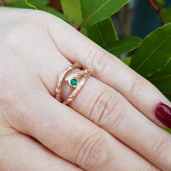 Rose Gold and Emerald Engagement Ring set
